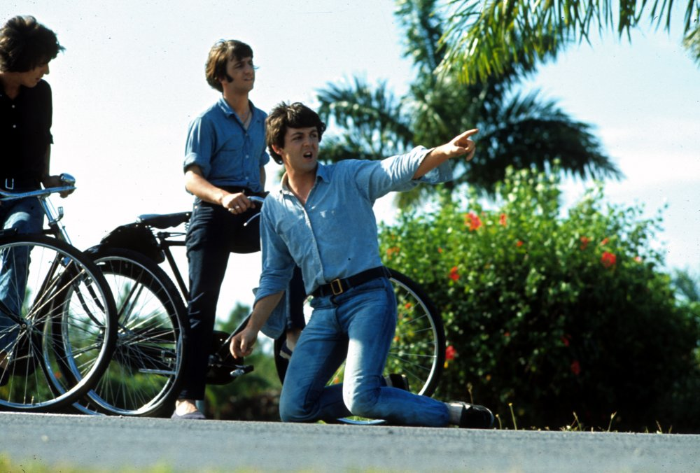 The bike-riding scene was shot on the first full day of the 14-day Caribbean shoot. Rock lore has it that it was during the filming of this sequence that George Harrison was approached by a Krishna follower and given a book about Hare Krishna that would spark Harrison's fascination with eastern spiritualism