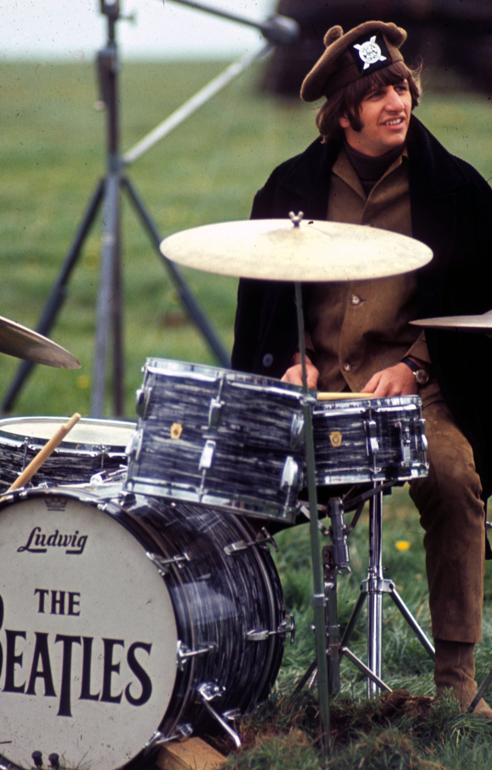 Ringo during the filming of the Salisbury Plain sequence. By this point in filming, the band's new single 'Ticket to Ride' was number one in the UK charts, offering the public their first taste of the upcoming Help! soundtrack and album