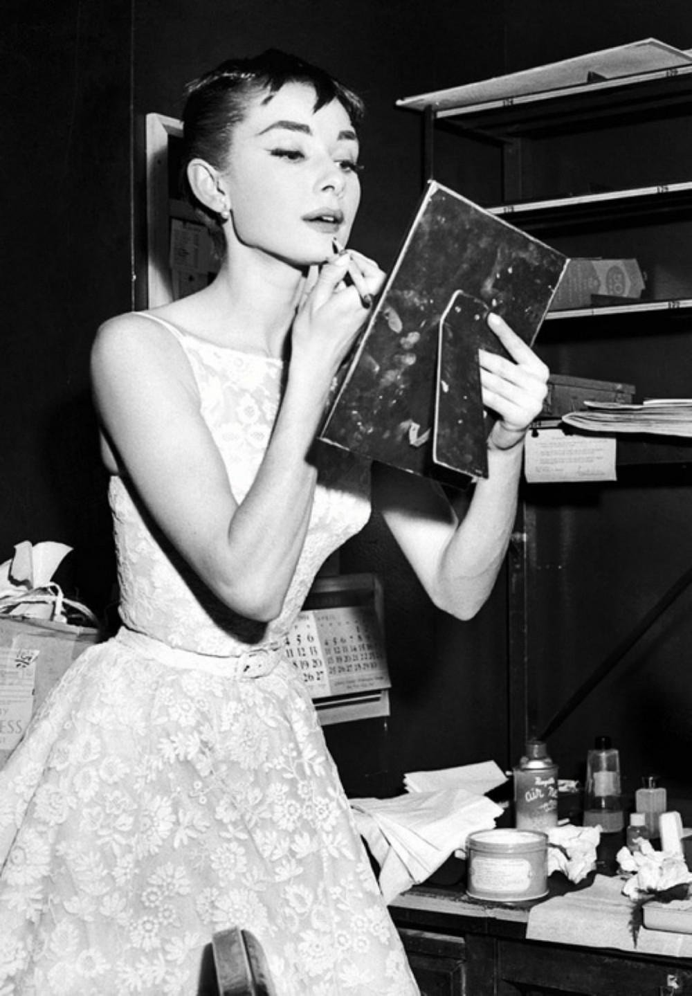 Audrey Hepburn in the Givenchy dress she wore when she won an Oscar for Roman Holiday in 1954