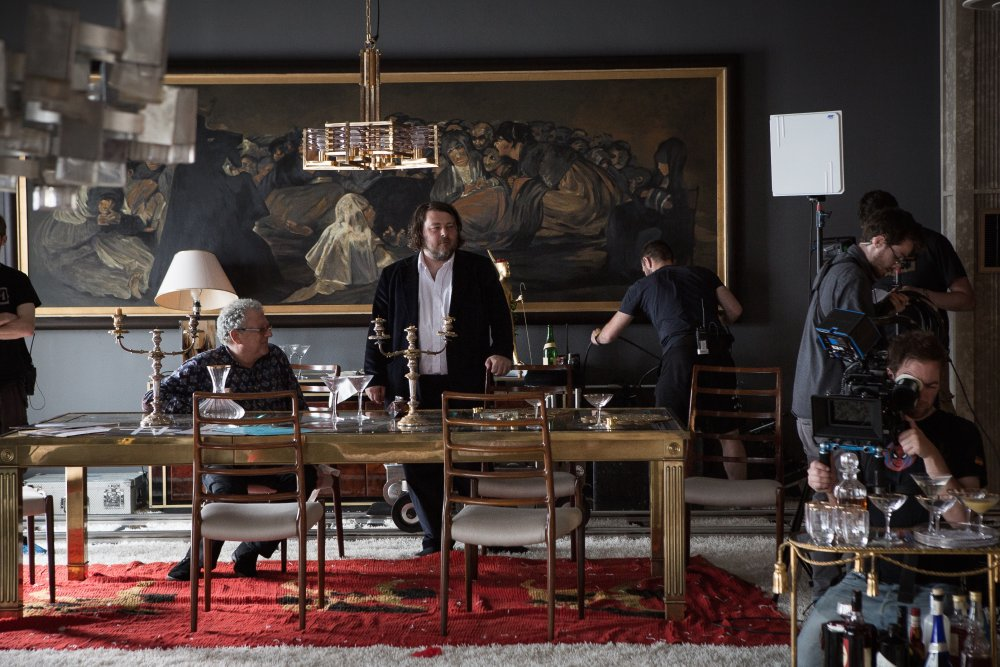 Jeremy Thomas and Ben Wheatley on set for High-Rise (2015)