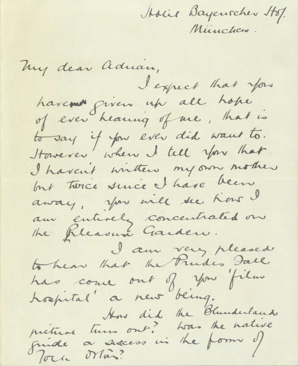 Hitchcock's letter to Adrian Brunel while working on The Pleasure Garden in 1925 (page 1)