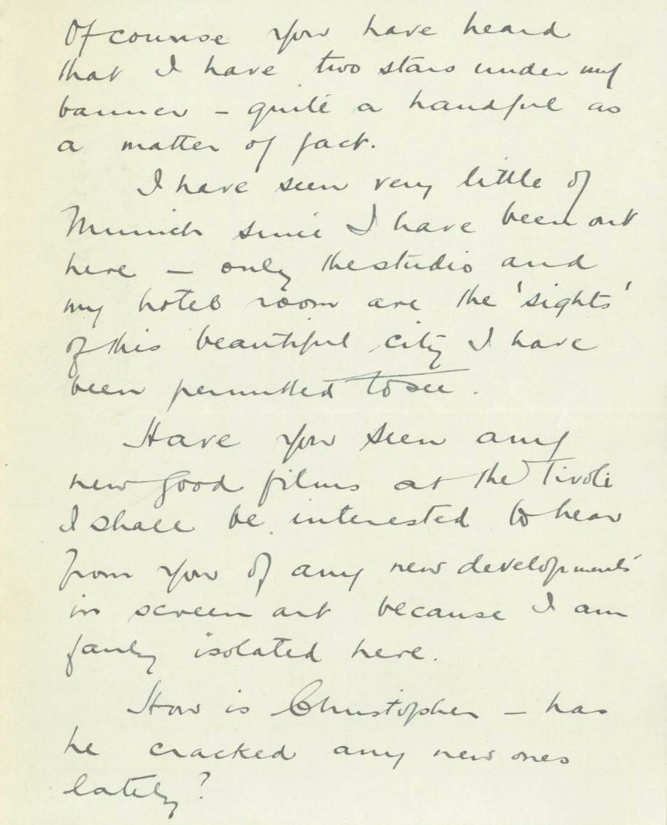 Hitchcock's letter to Adrian Brunel while working on The Pleasure Garden in 1925 (page 2)