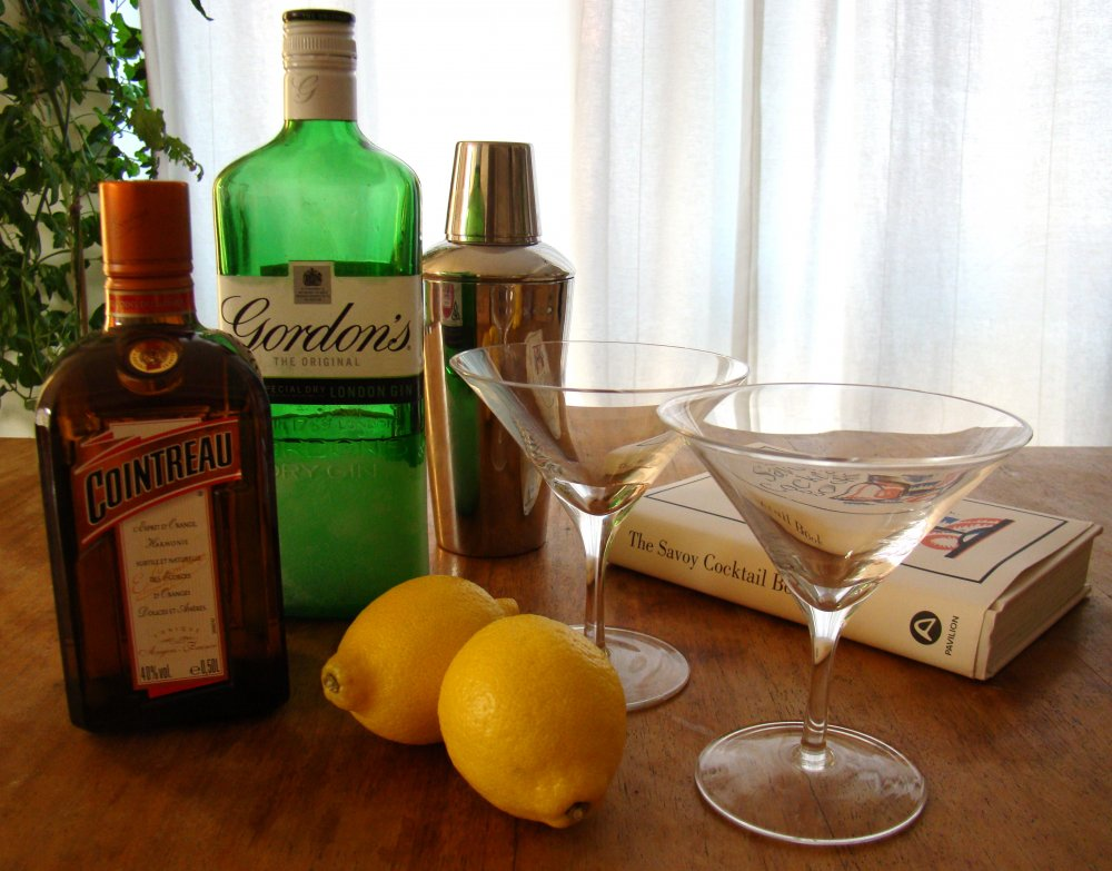 The ingredients for Hitchcock's favourite cocktail – the White Lady