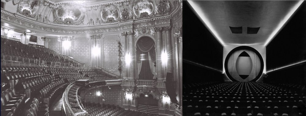 "Manhattan's opulent Hollywood theatre, a showcase for talkies (left) and the Film Guild cinema (right) an example of a ""Little Motion Picture Theatre"""