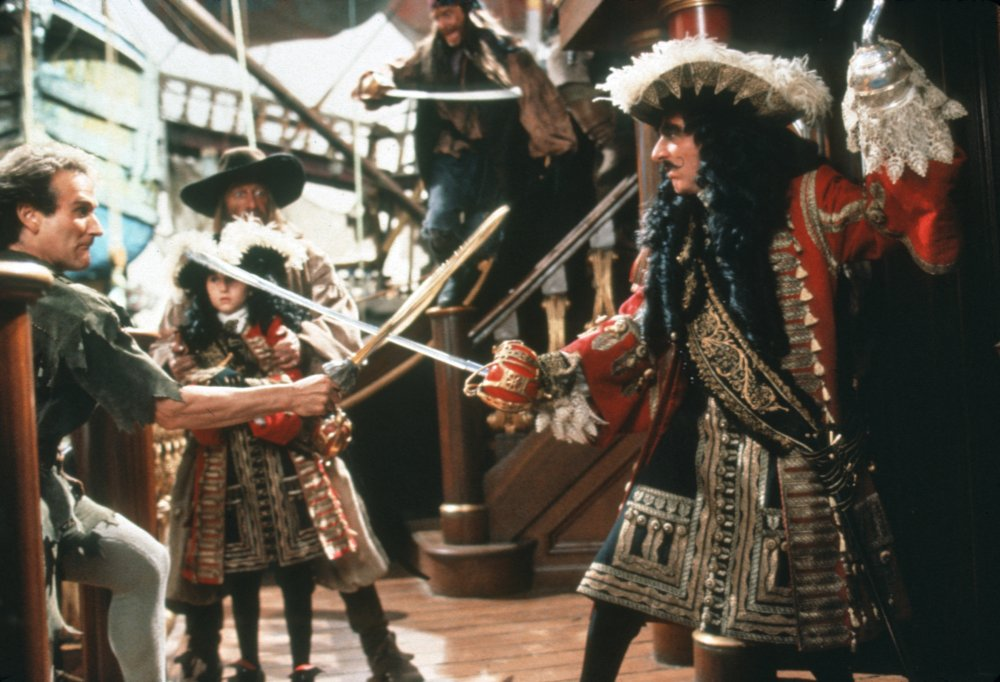 Williams played a grownup Peter Pan opposite Dustin Hoffman's dastardly Captain Hook in Steven Spielberg's sequel, Hook (1991)