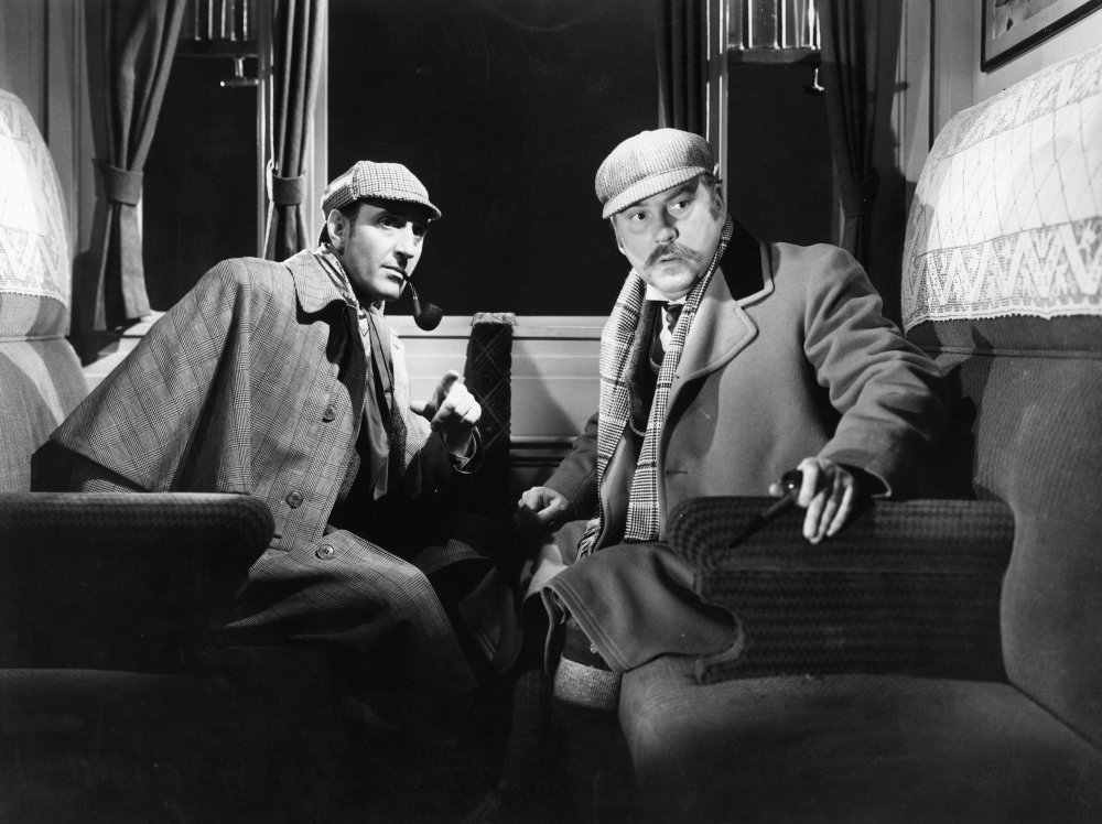 Basil Rathbone with fellow veteran Nigel Bruce in The Hound of the Baskervilles (1939)