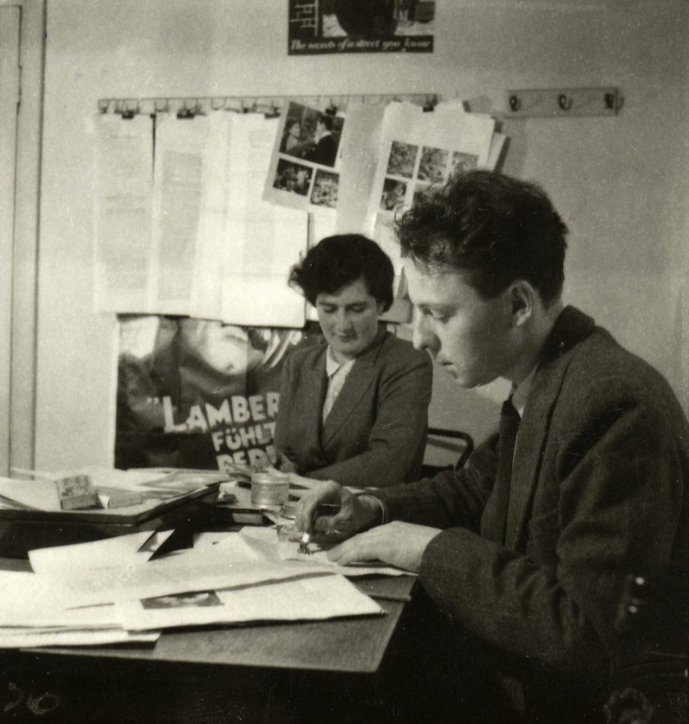 "Penelope Houston working on an early issue of Sight <span class=""amp"">&</span> Sound with Gavin Lambert, from whom she officially took over as editor in 1956, and continued in the post until 1990"