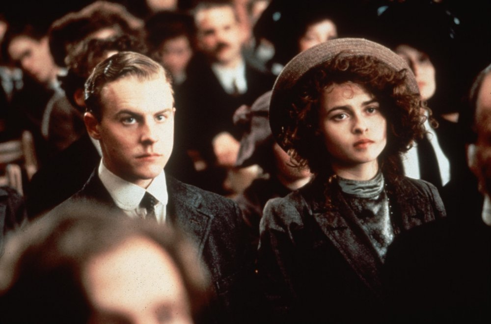 Samuel West as Leonard Bast and Helena Bonham Carter as Helen Schlegel in Merchant-Ivory's Howards End
