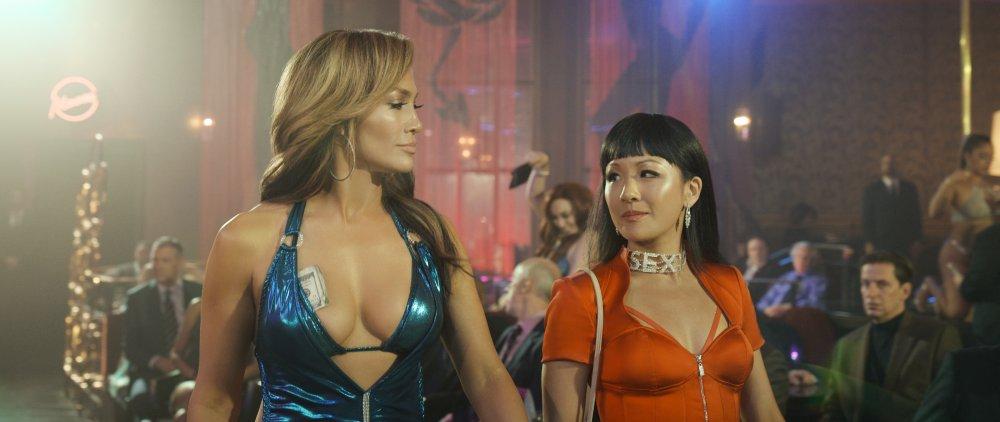 Jennifer Lopez as Romona and Constance Wu as Destiny in Hustlers