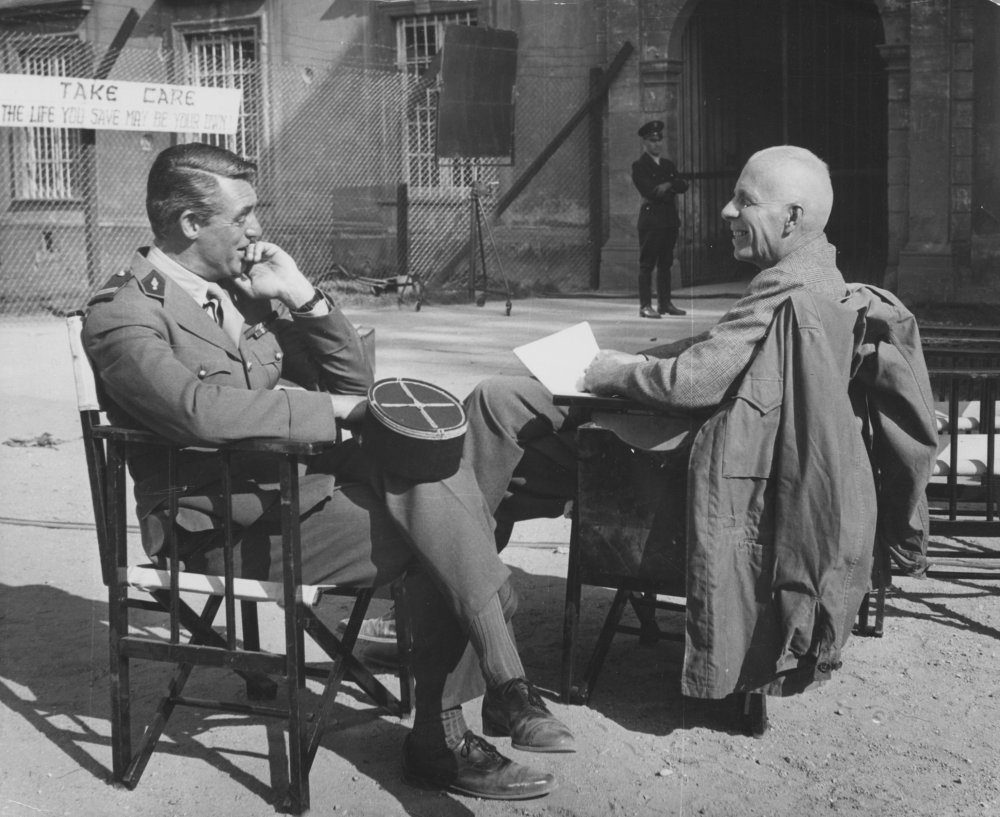 Cary Grant and director Howard Hawks on location in Germany for the filming of I Was a Male War Bride (1949)