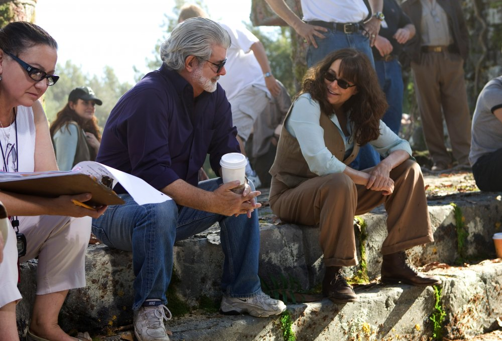 The team were finally tempted to make a fourth film in the late 2000s, and called back actor Karen Allen for her first appearance in the franchise since Raiders of the Lost Ark. Here's Lucas and Allen sharing a moment between takes in production on Indiana Jones and the Kingdom of the Crystal Skull (2008)