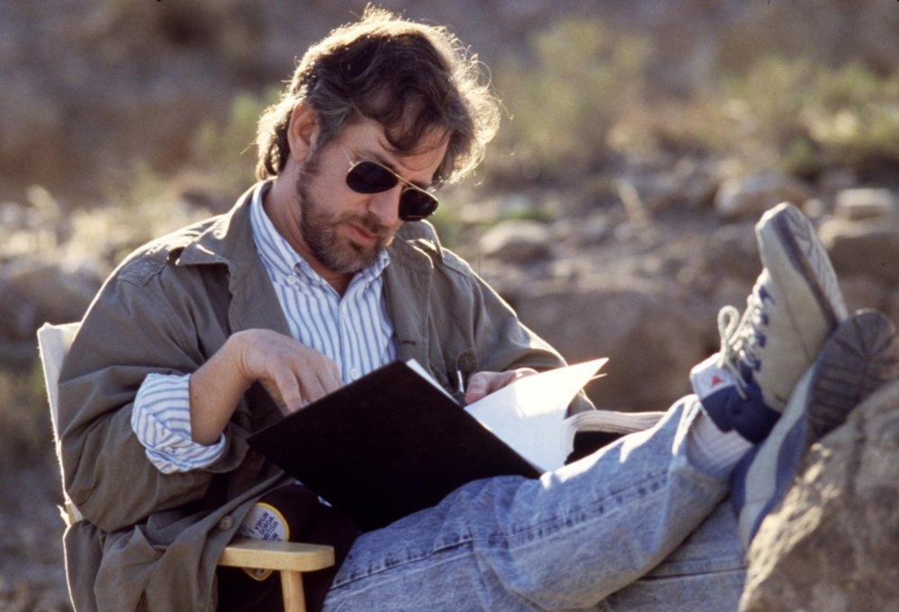 Spielberg takes a moment to put his feet up and have a script read through