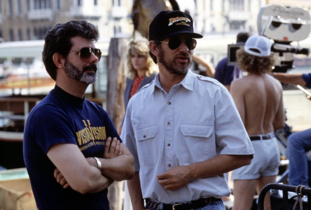 Lucas and Spielberg on location for the third Indy adventure