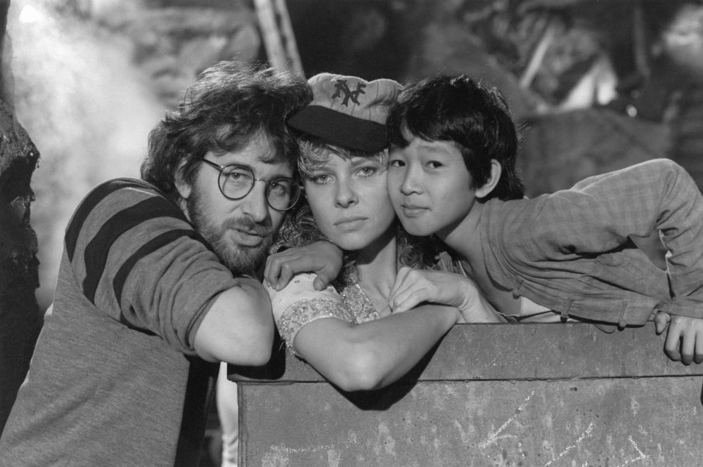 Spielberg with actors Kate Capshaw and Ke Huy Quan in the mining cart used for the breathless chase sequence towards the end of the film