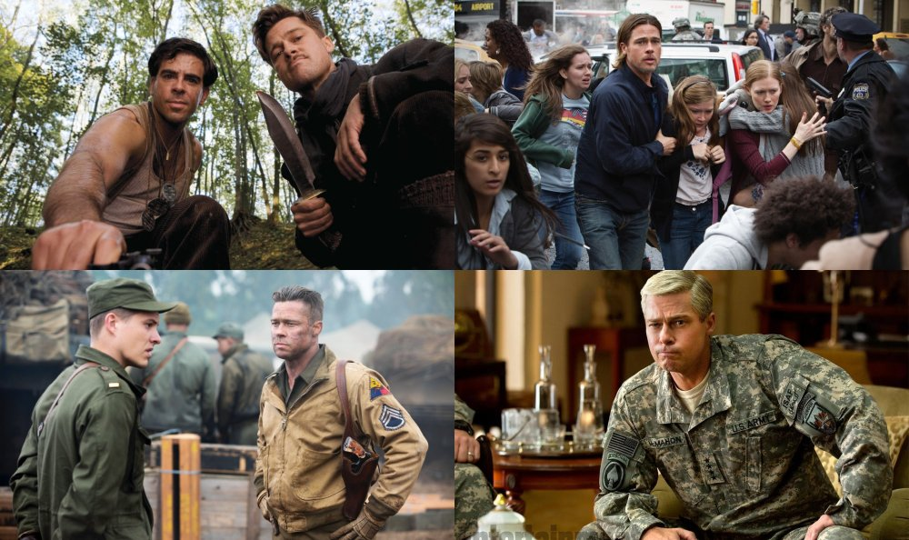 Clockwise from top left: as Lieutenant Aldo Raine in Inglourious Basterds; as Gerry Lane in World War Z; as General Glen McMahon in War Machine; as Don 'Wardaddy' Collier in Fury