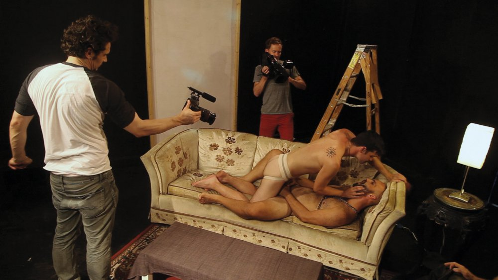 James Franco and Travis Mathews film a sex scene for Interior. Leather Bar.
