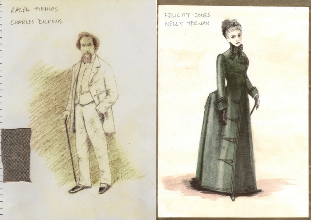 Designs by Michael O'Connor for Dickens's pale grey suit (worn by Ralph Fiennes) and Nelly Ternan's green coat (worn by Felicity Jones)