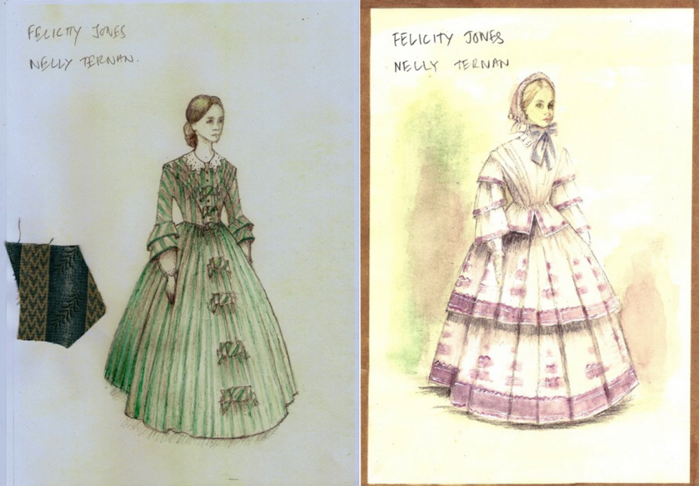 Designs for Nelly's green striped dress and her outfit for a trip to the races