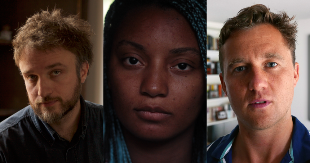 Left to right: Daniel Kokotajlo (Apostasy), Rungano Nyoni (I Am Not a Witch) and Michael Pearce (Beast)