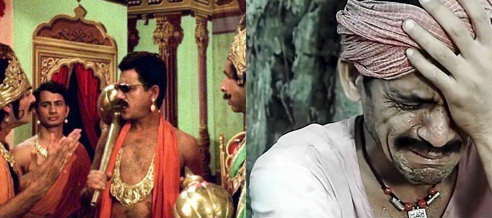 Left: as Ahuja in Jaane Bhi Do Yaaro (1983); right: as Dukhi Chamar in Sadgati (1988)