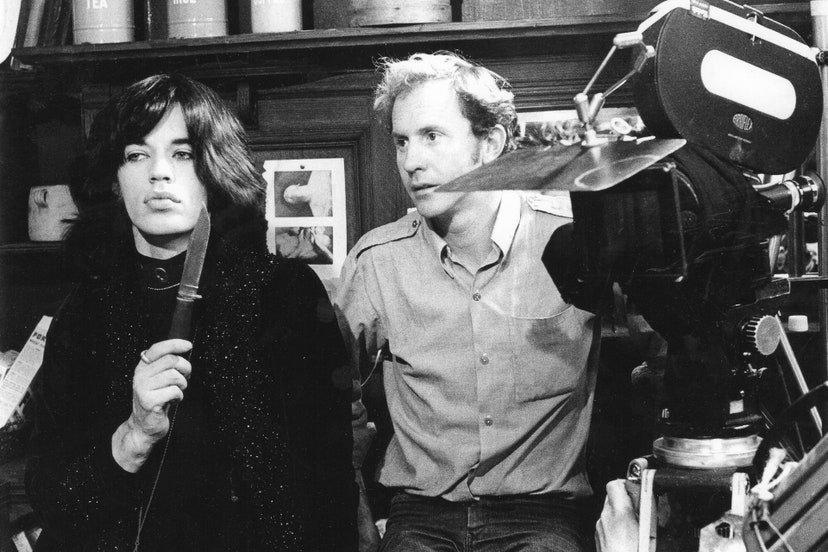 Nicolas Roeg and Mick Jagger on the set of Performance (1970)