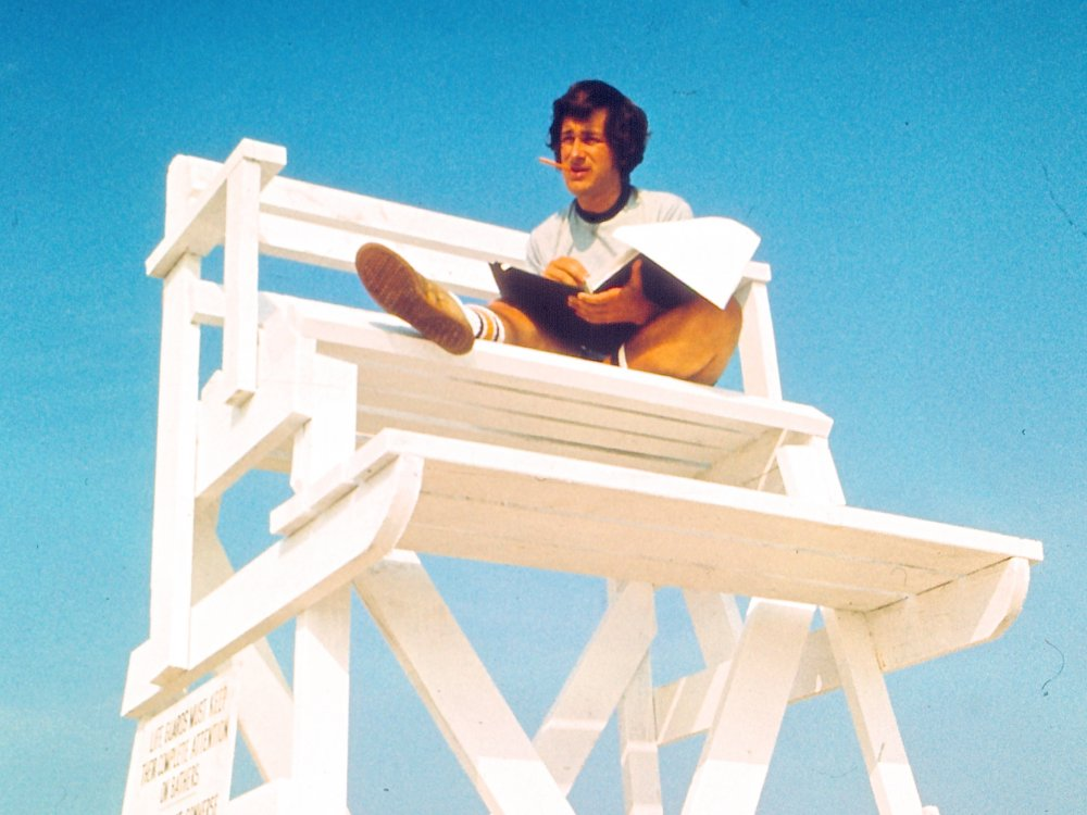 Steven Spielberg on location for Jaws (1975)