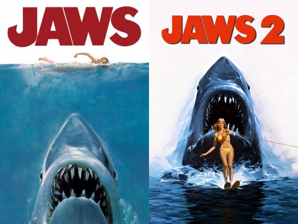 US posters for Jaws (1975) and Jaws 2 (1978)