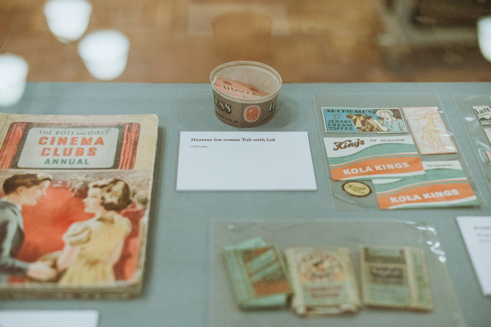 'Hostess Ice-cream Tub with Lid': a display at the Mitchell Gallery's exhibition of Glaswegian cinema-going memorabilia