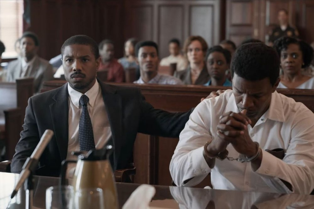 Michael B. Jordan as Bryan Stevenson and Jamie Foxx as Walter McMillian in Just Mercy