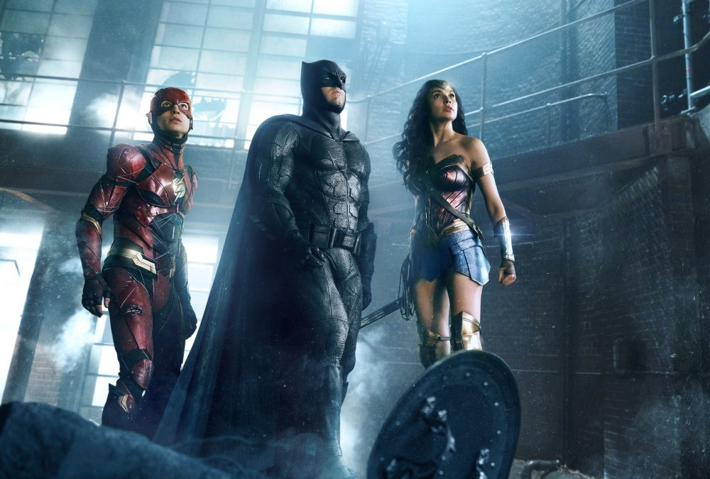 Ezra Miller as Flash, Ben Affleck as Batman and Gal Gadot as Wonder Woman in Justice League (2017)