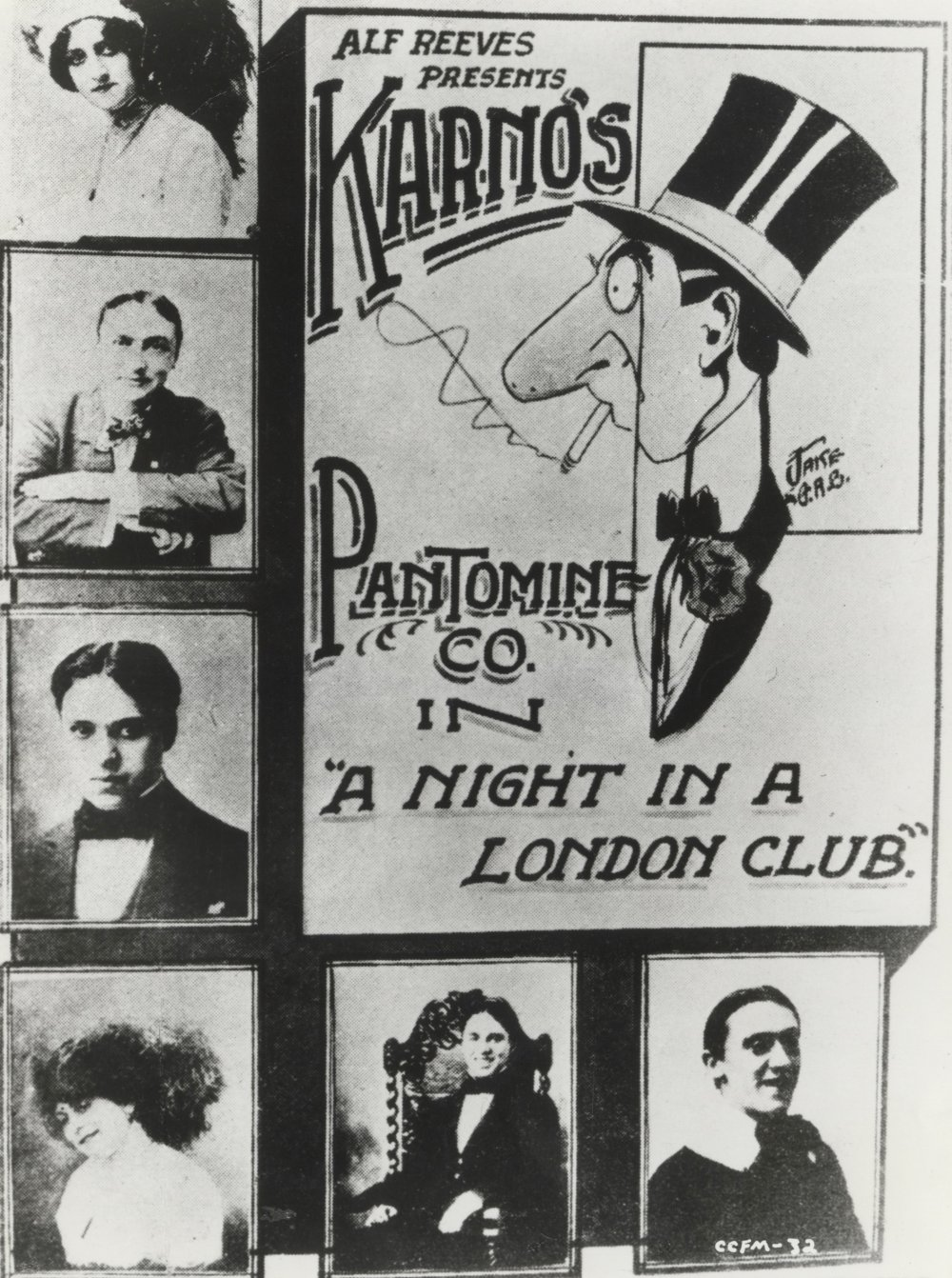 Karno pantomine poster (Chaplin's portrait is third from top), scanned print on photographic paper