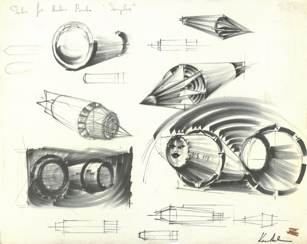 Adam's various different designs for the bombs in Dr. Strangelove