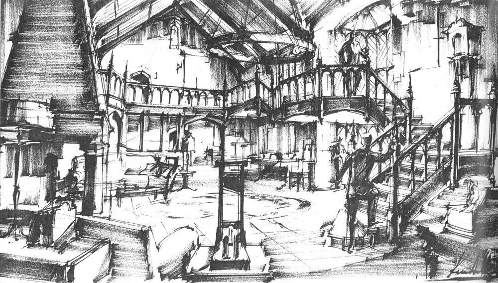 The great hall of cloak manor in Sleuth (1972) as envisaged by Ken Adam and later built at Pinewood