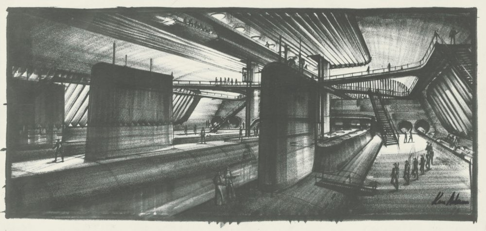Adam's design for the interior of the supertanker in The Spy Who Loved Me