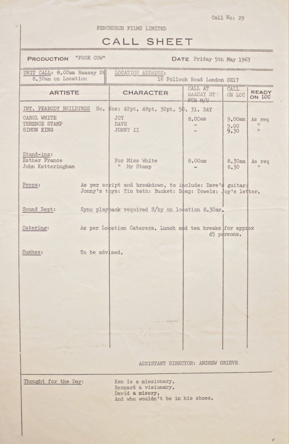 Call sheet for Poor Cow (1967)