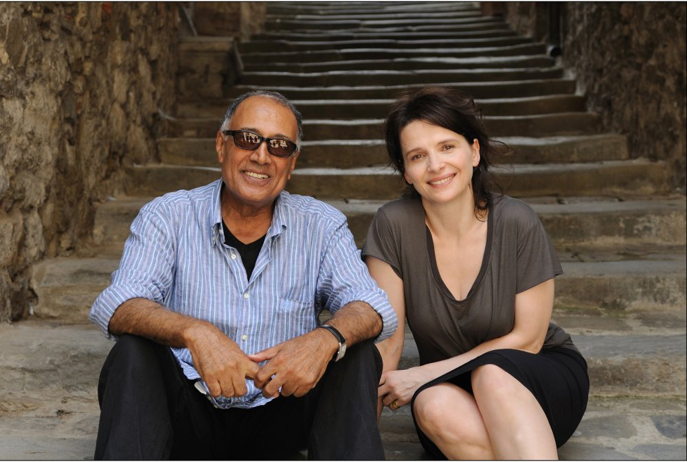 Abbas Kiarostami and Juliette Binoche on location for Certified Copy in 2010