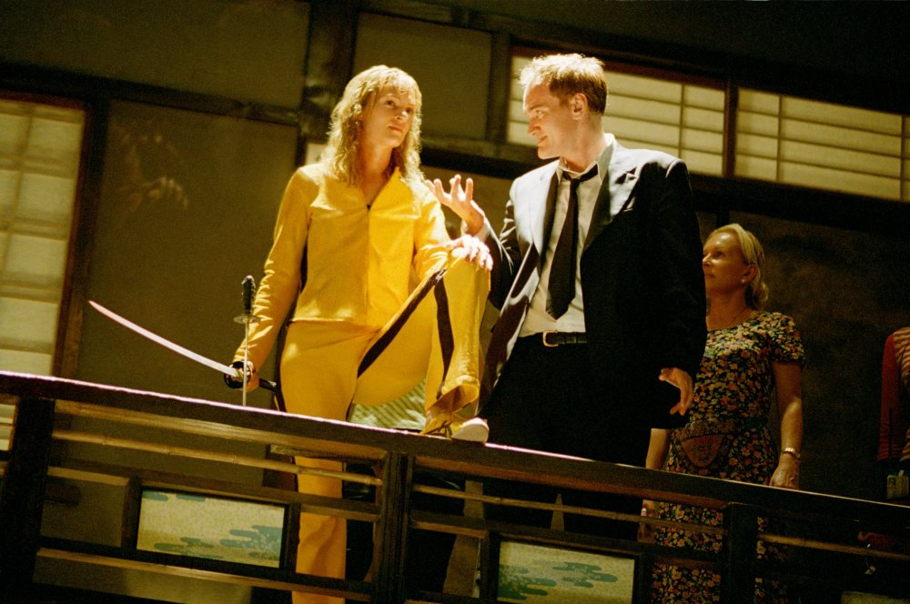 Uma Thurman and Quentin Tarantino on set for Kill Bill Vol. 1 (2003)