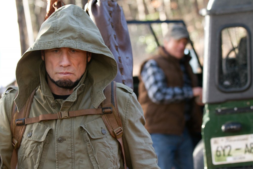 In his latest film, Killing Season, Travolta plays a former Serbian soldier facing off against Robert De Niro in the wilderness