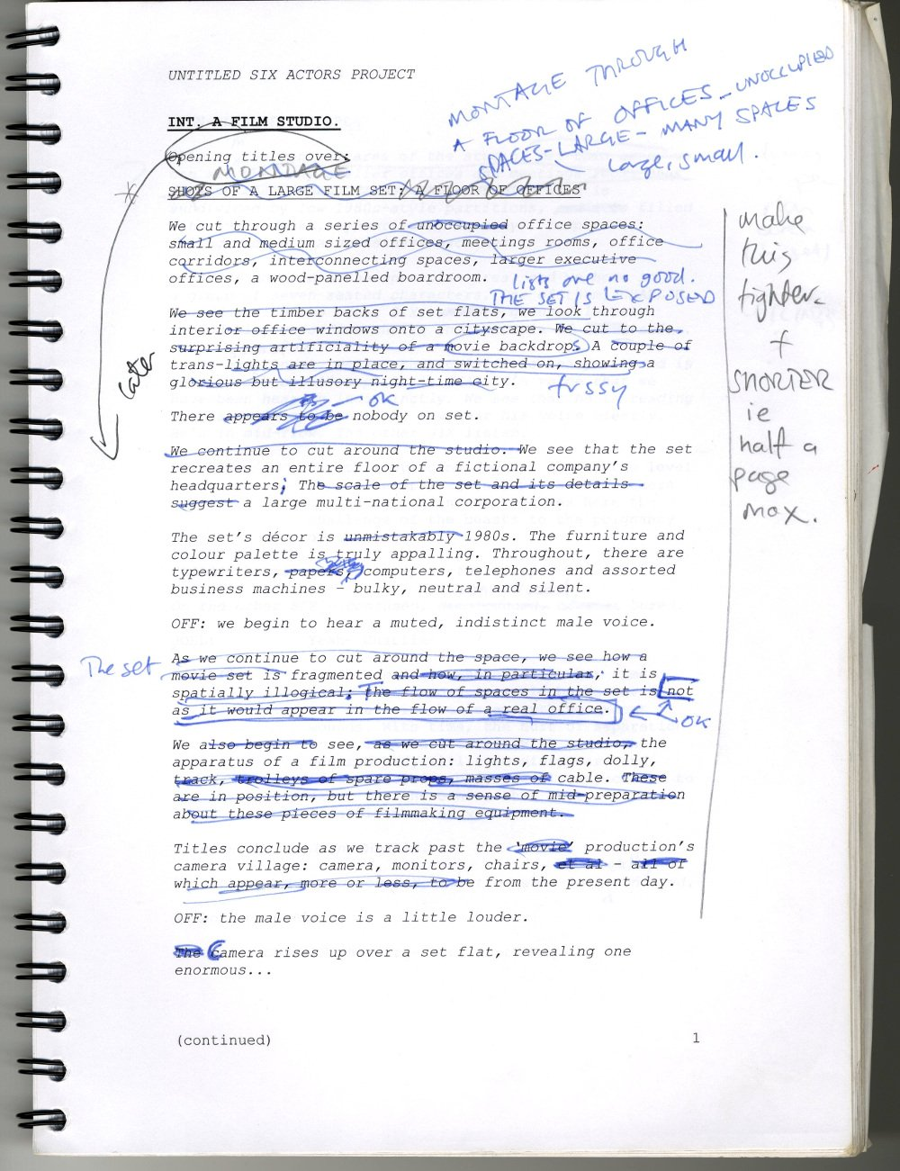 Draft script for Stuart Croft's unrealised project The Kingdom of Angels