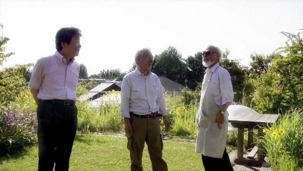Takahata, producer Suzuki Toshio and Miyazaki Hayao in the 2013 Studio Ghibli documentary Kingdom of Dreams and Madness (2013)