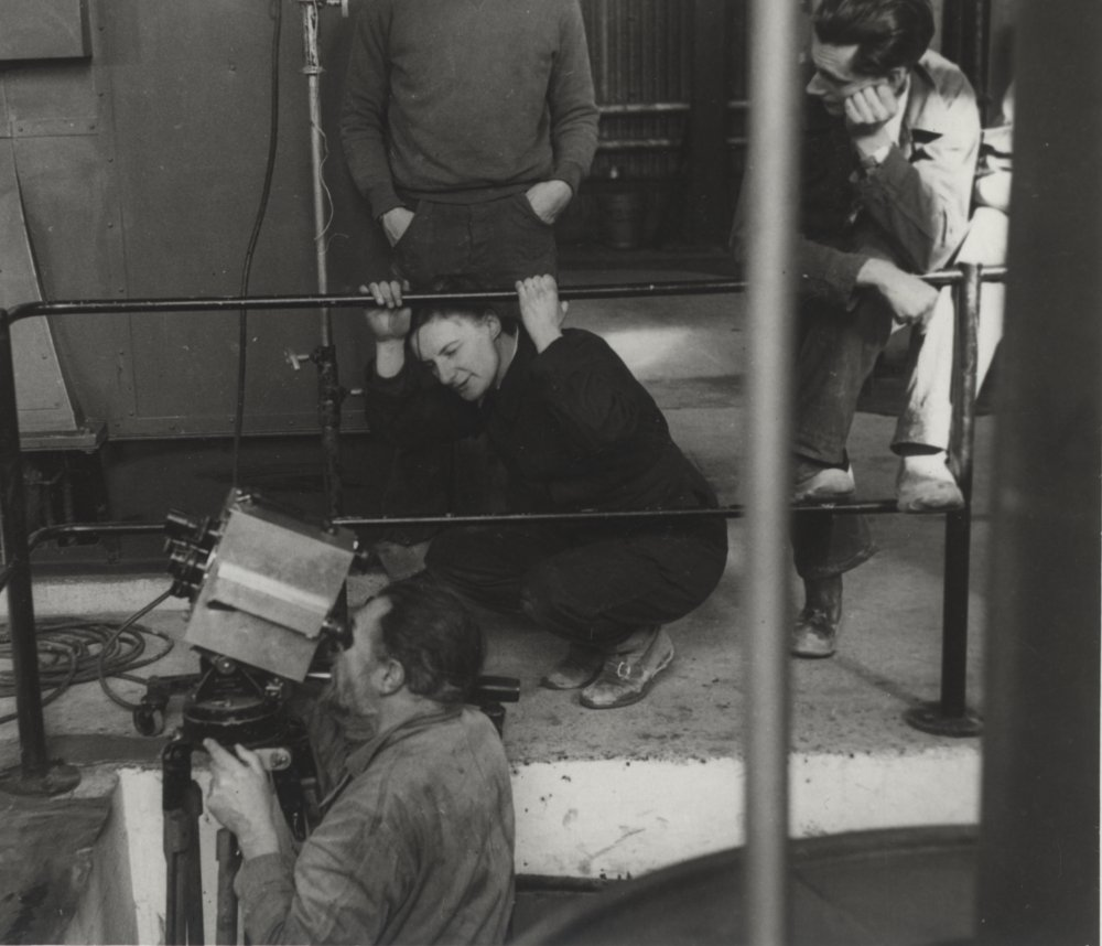 Kitty Marshall supervises filming at a colliery