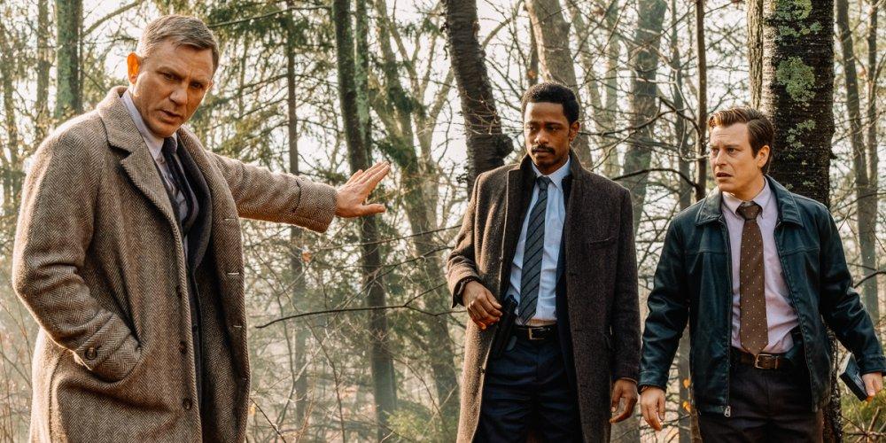 Daniel Craig as Benoit Blanc, LaKeith Stanfield as Lieutenant Elliott and Noah Segan as Trooper Wagner