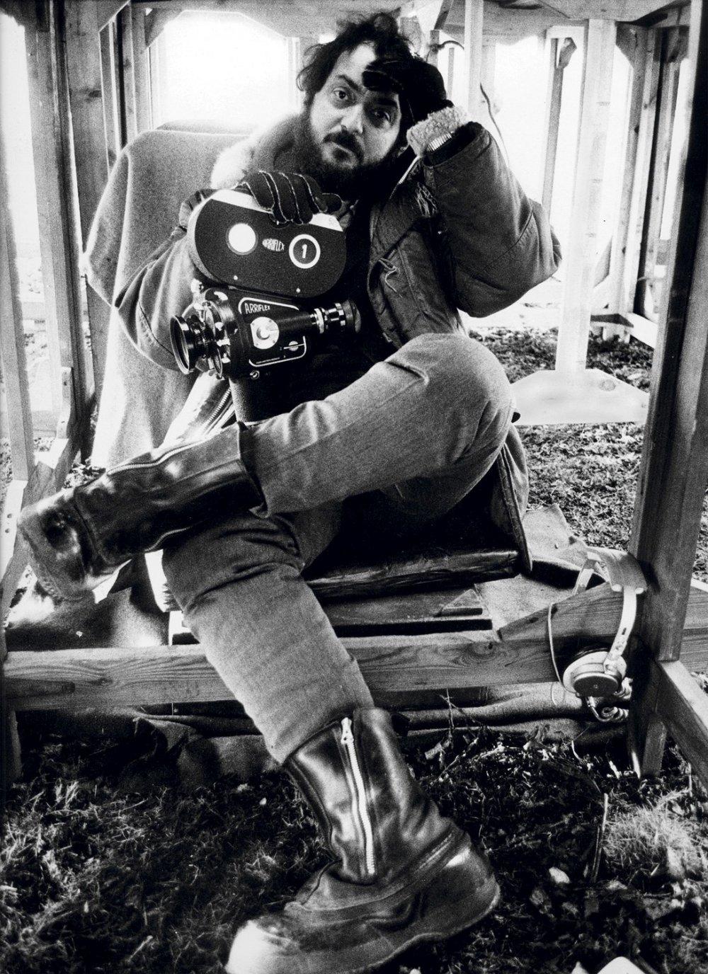 Stanley Kubrick, photographed by Dmitri Kasterine in 1970 on the set of A Clockwork Orange.