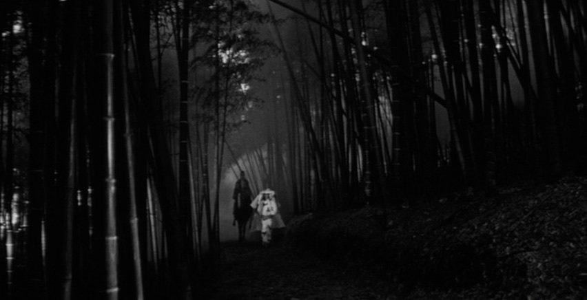 The towering bamboo canes mark the boundaries of the otherworldly domain in which much of the film unfolds, as the murder victim draws her prey into darkness from the world of light