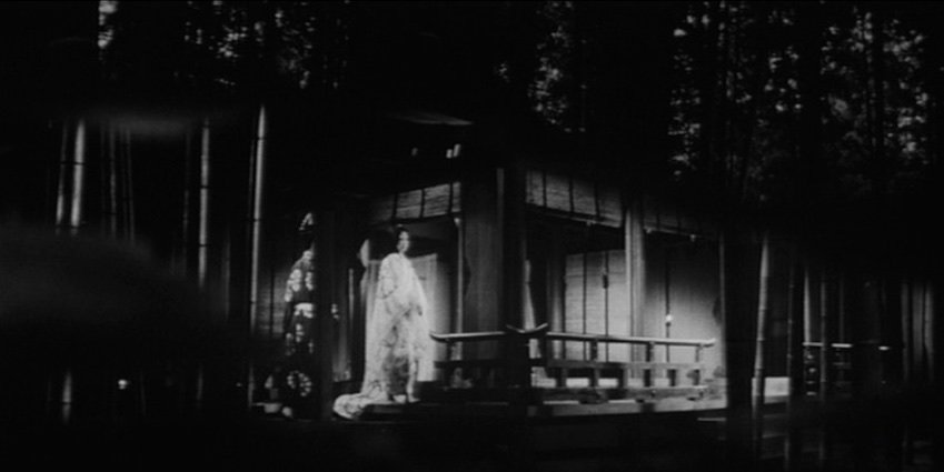 This long take, reminiscent of Kenji Mizoguchi's Ugetsu Monogatari (1953), with the daughter luring the soldier into the women's numinous domain, employs an eerie composite effect, with the bamboo grove continuing to move to the right of the screen while the house remains static