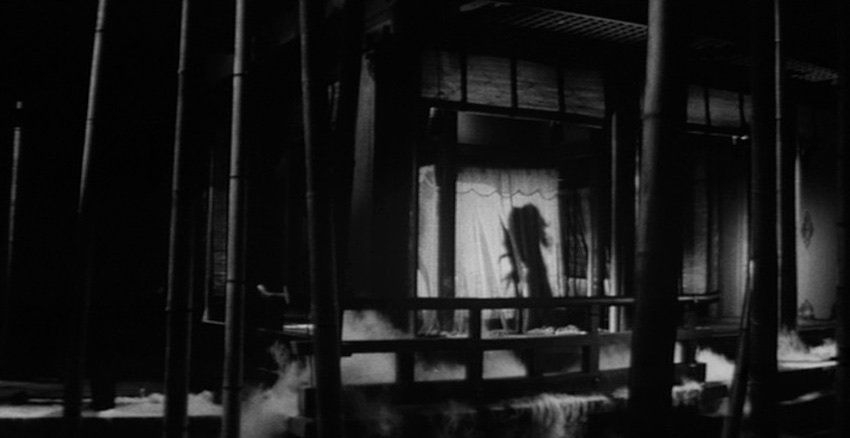 In traditional Japanese art, the spectator is encouraged to scan the image laterally and shadows are seldom used to render space, as in the soldier's murder that occurs silhouetted against the curtains