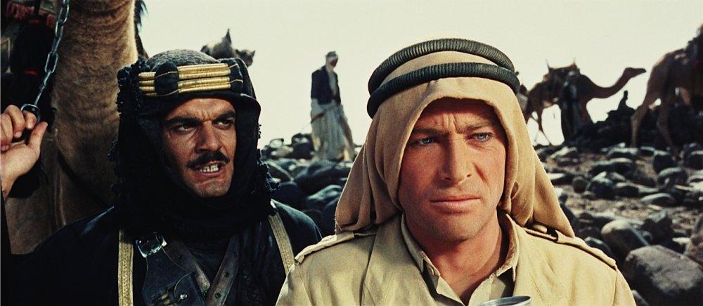 Omar Sharif as Sherif Ali ibn el Kharish and Peter O'Toole as T.E. Lawrence in David Lean's Lawrence of Arabia (1962)