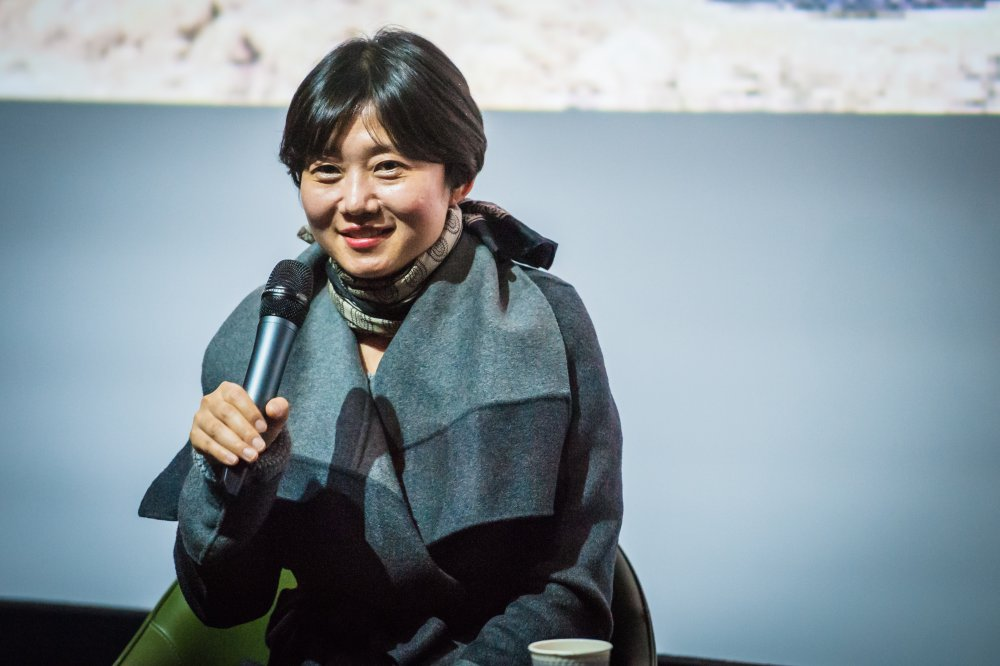 The Truth Beneath's director Lee Kyoung-mi on stage at the London Korean Film Festival