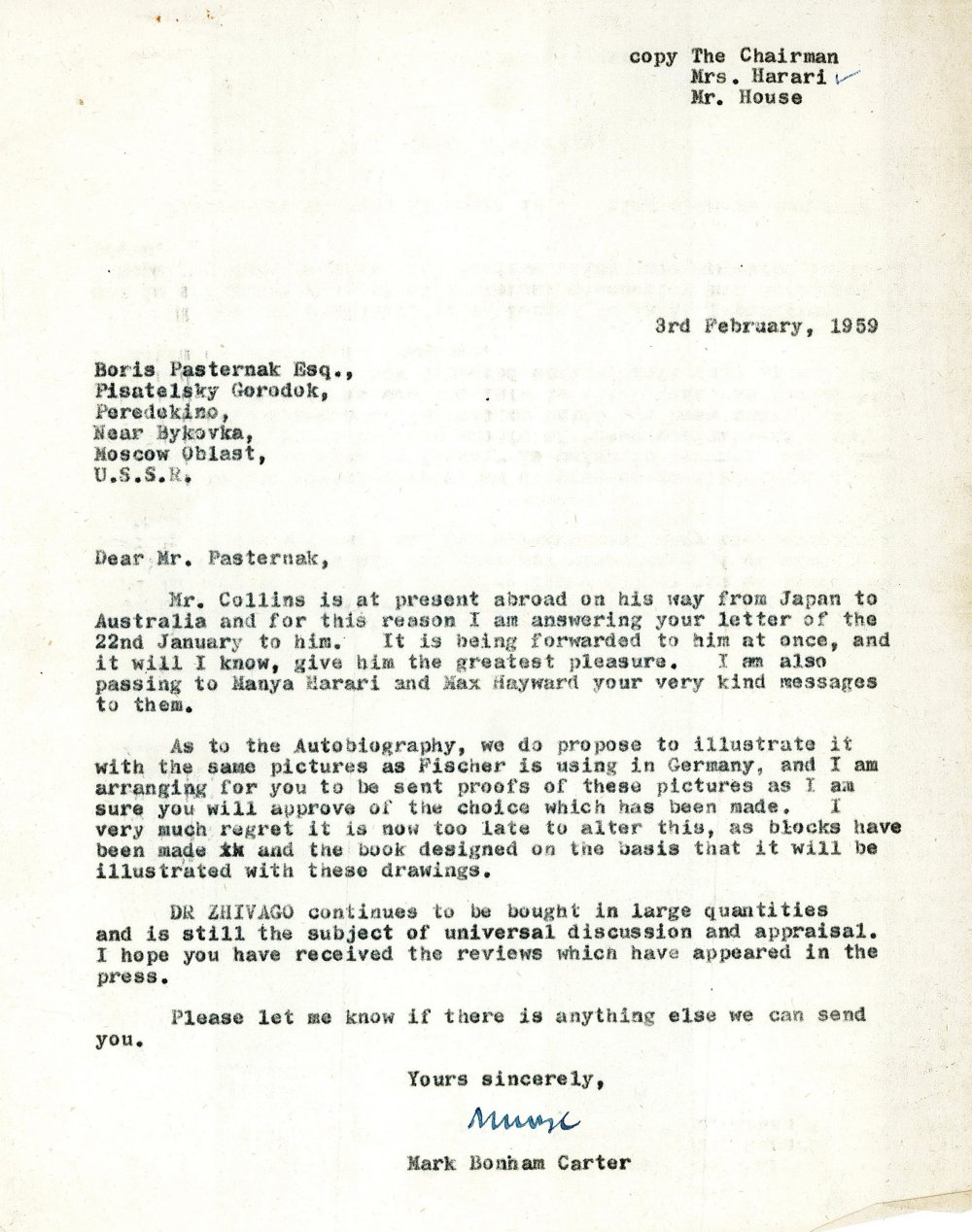 Letter from Collins editor Mark Bonham Carter to Boris Pasternak