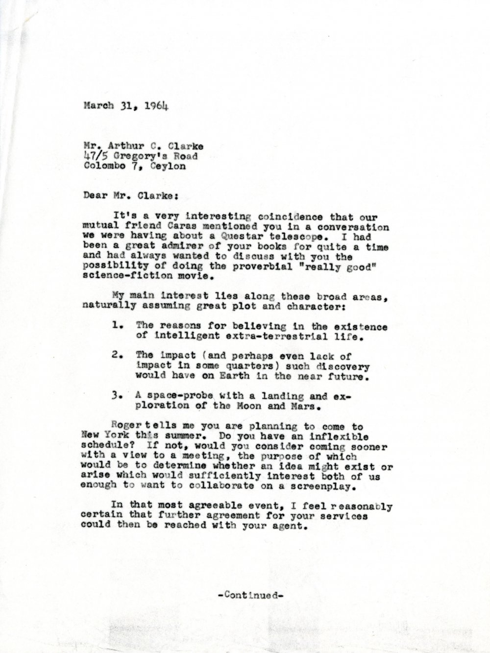 The letter from Stanley Kubrick that started 2001 A Space Odyssey
